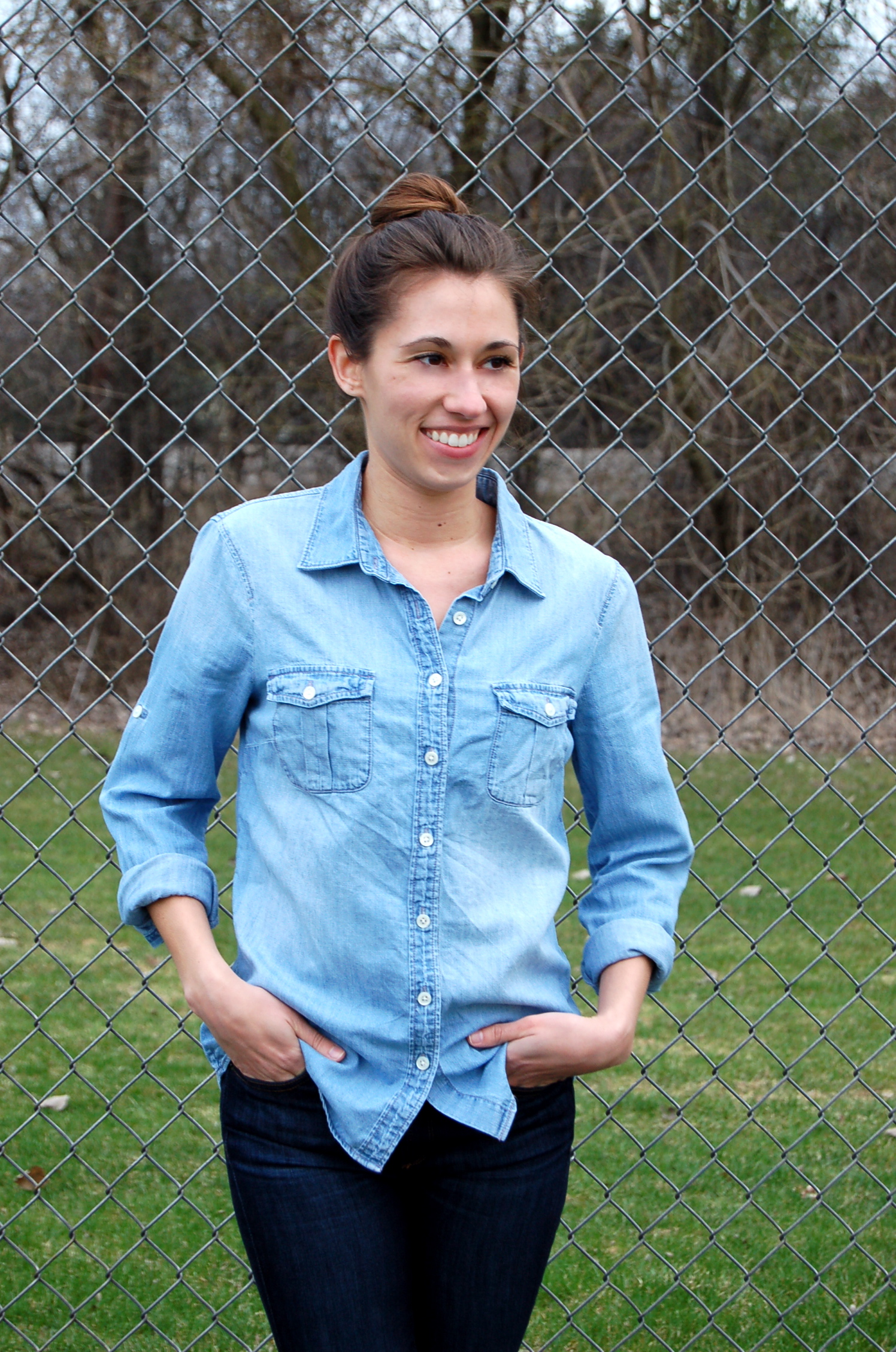 fe864869 j.crew chambray outfit, chambray shirt outfit, all denim look, simple  fashion
