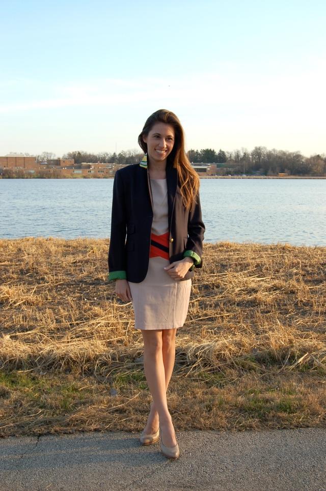 classic blazer and sheath dress, simple stripe sheath dress, c. luce sheath dress