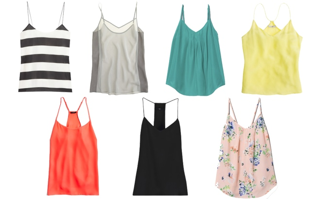 classic camisoles, simple camisoles, silk camisoles, stripe camisole, floral camisole, j.crew camisole