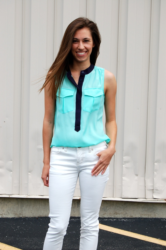 mint tank top, white jeans outfit, simple outfit, simple outfit with white jeans