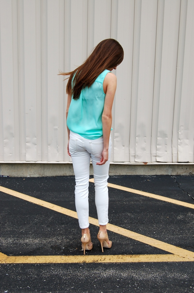 simple white jeans outfit, mint colored tank to, simple outfit, nude jimmy choo shoes