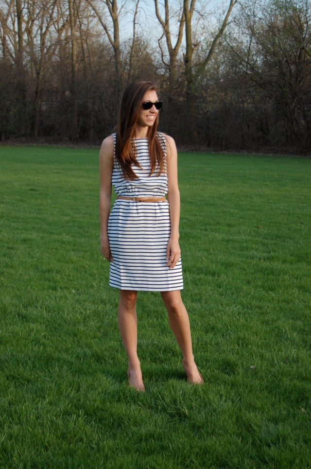 j.crew striped dress, classic stripe dress, simple stripe dress