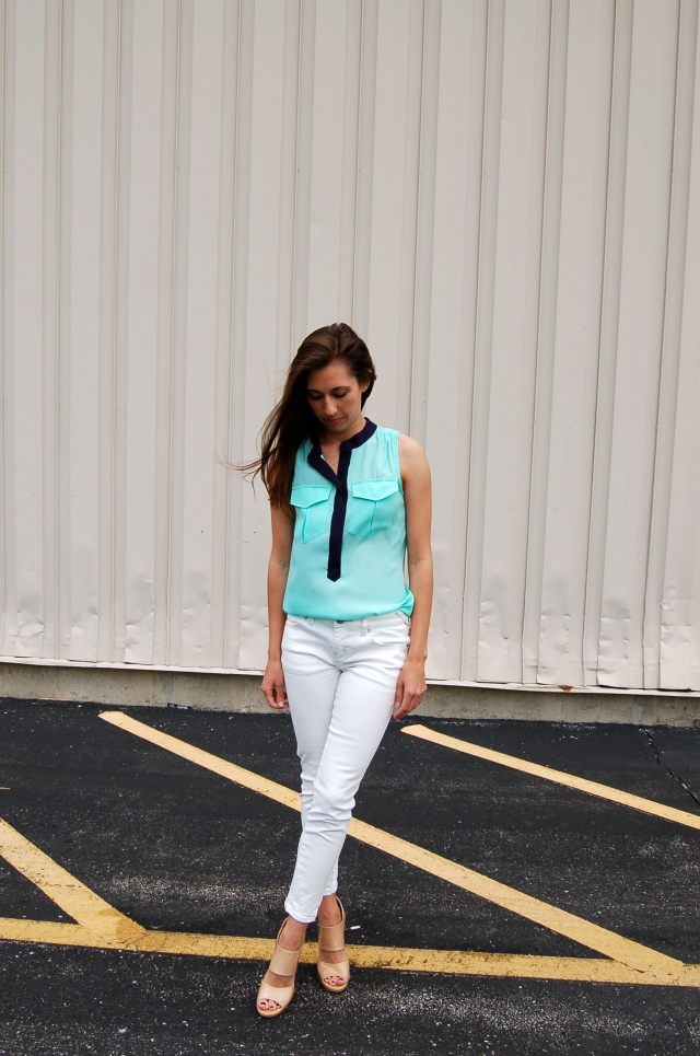 j.crew factory mint tank, mint tank top, white jeans outfit, simple white jeans outfit, nude jimmy choos