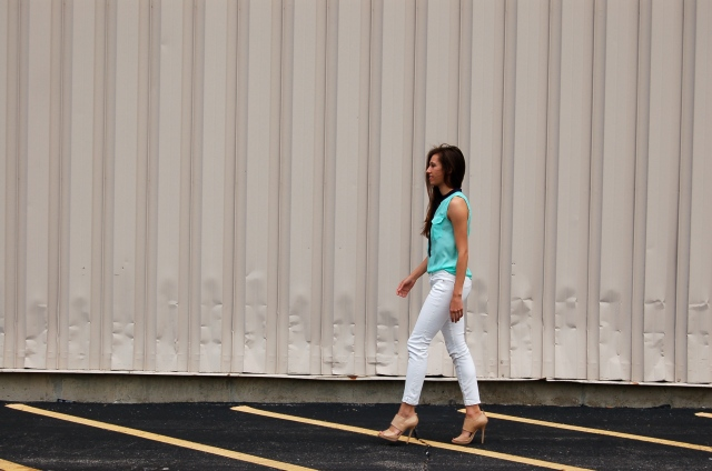 j.crew mint tank top, white jeans outfit, simple outfit, nude jimmy choo heels