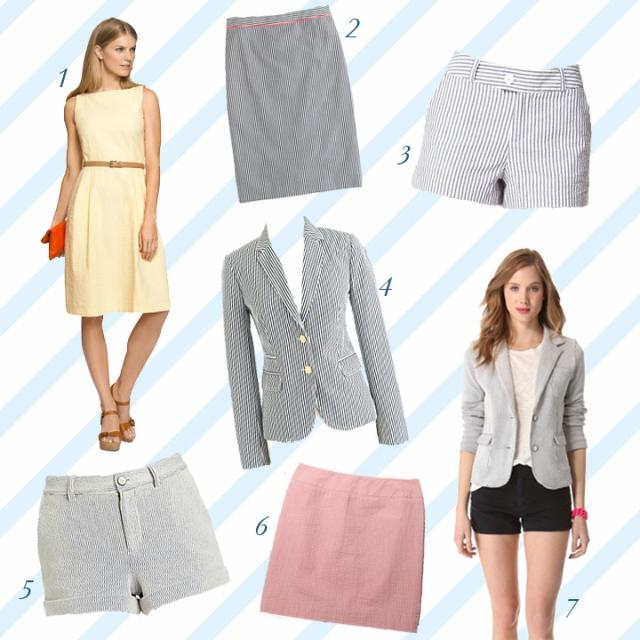 seersucker shorts, seersucker dress, seersucker blazer
