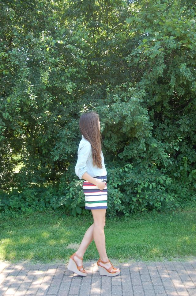jcrew chambray shirt, jcrew striped mini skirt, chambray shirt outfit