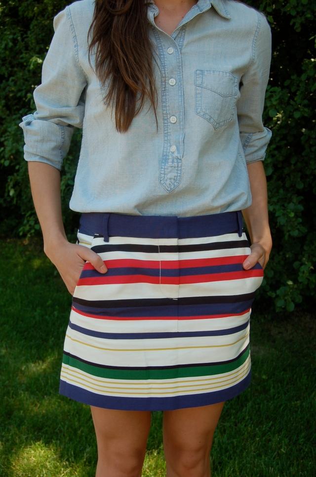 jcrew striped mini skirt, jcrew cambray shirt, chambray shirt outfit