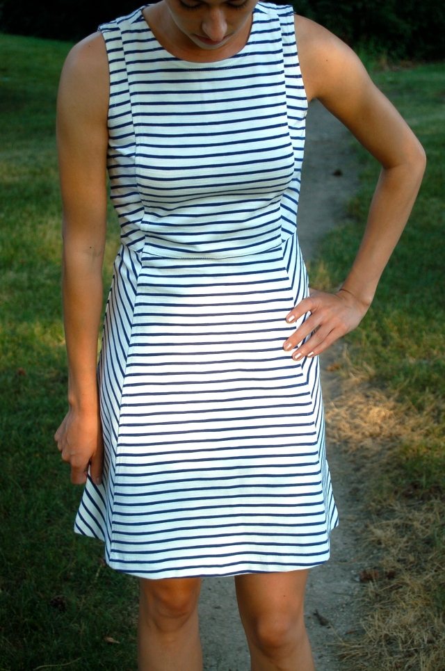 j.crew ponte dress, simple stripe dress, classic stripe dress