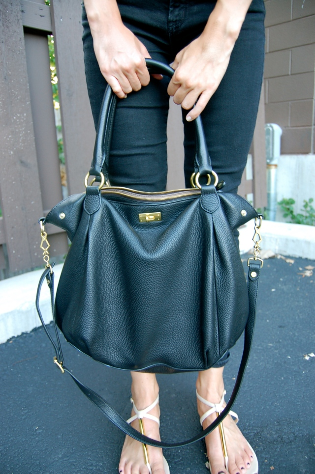 simple bag, jcrew hobo bag, black leather jcrew bag