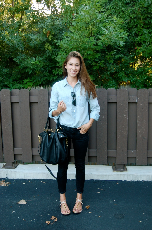 simple outfit, simple jean outfit, chambray shirt, jcrew toothpick jeans