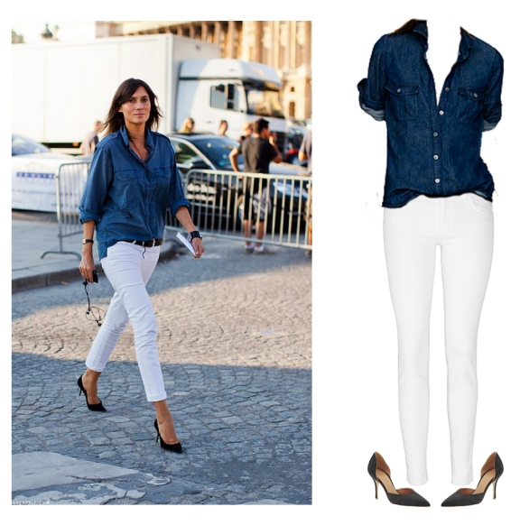 white jeans outfit, simple white jeans outfit, white jeans and chambray shirt, emanuelle alt outfit