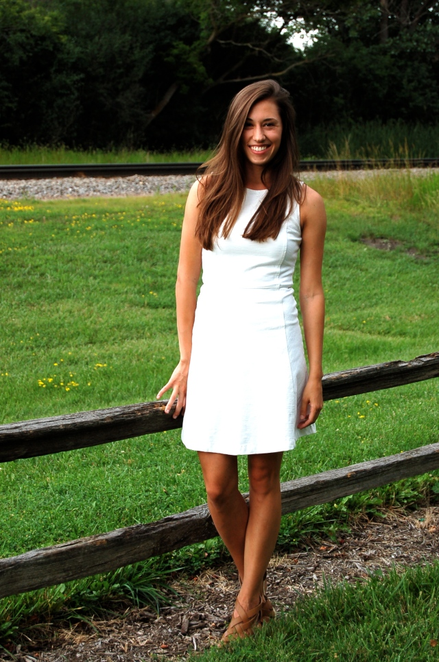 j.crew princess seam dress, j.crew fit and flare dress, simple white dress