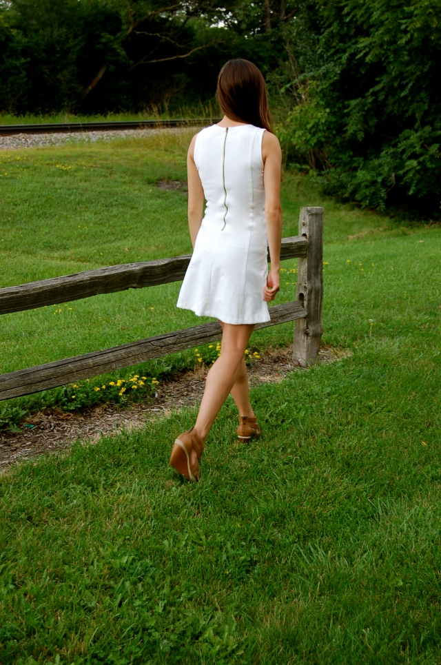 j.crew white dress, little white dress, simple little white dress, fit and flare dress