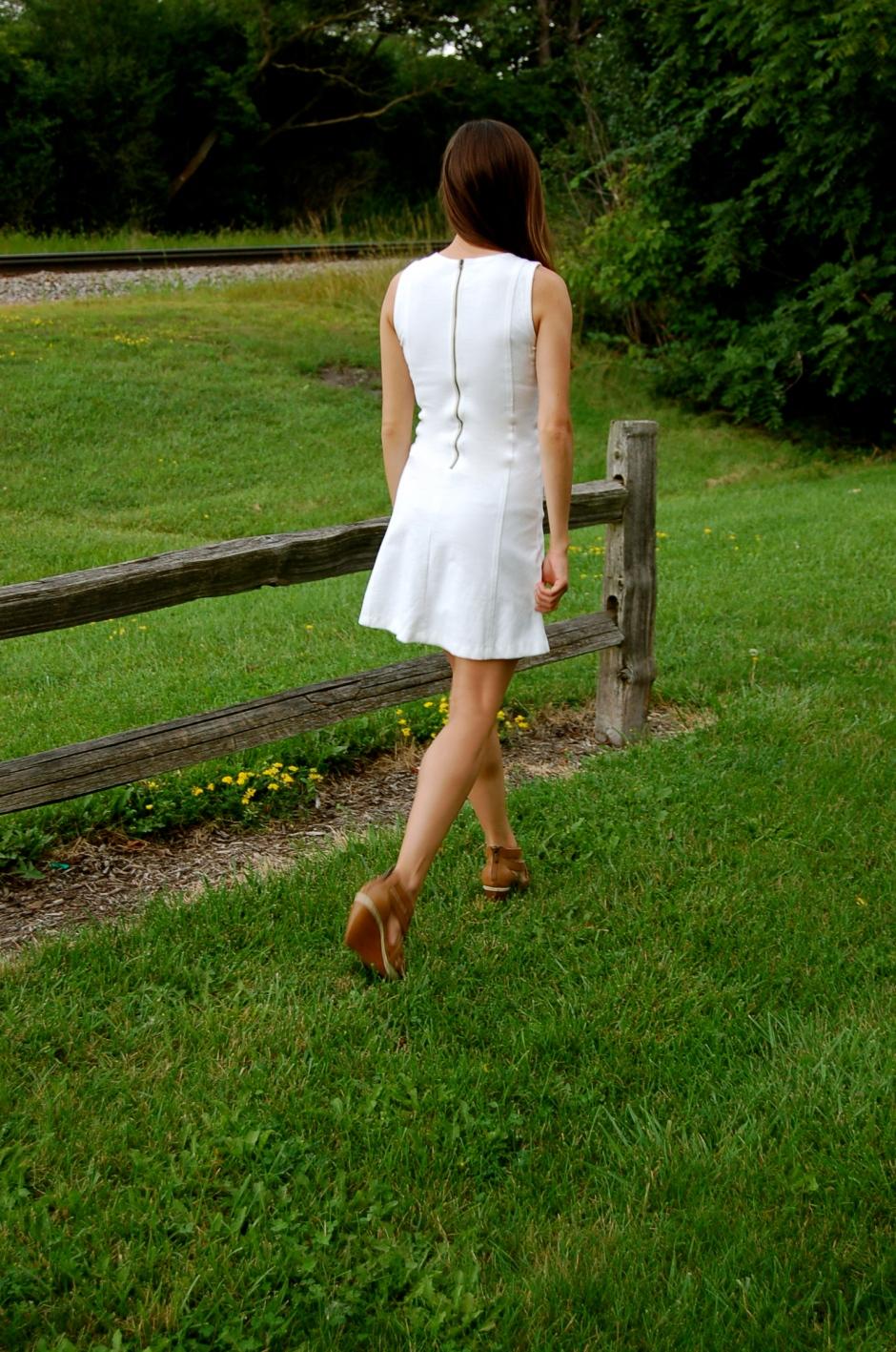 j.crew white dress, little white dress, simple little white dress, fit and flare dress