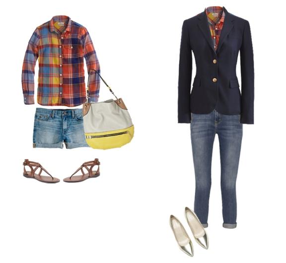 plaid outfit for fall, plaid j.crew boyshirt, jcrew blazer, blazer over plaid shirt, plaid shirt and denim shorts