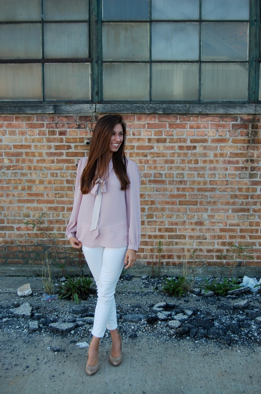 tinley road blouse, simple work outfit, blouse with white jeans, blouse with bow, simple outfit, simple style