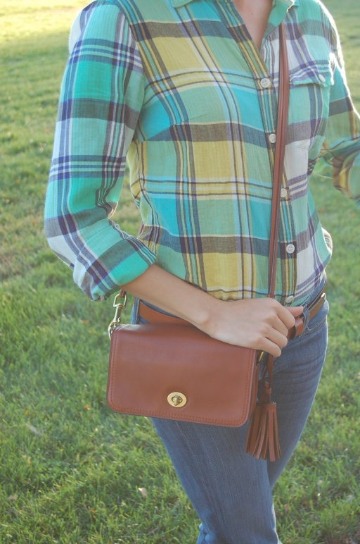 jcrew plaid shirt for fall, coach penny bag, coach legacy penny bag