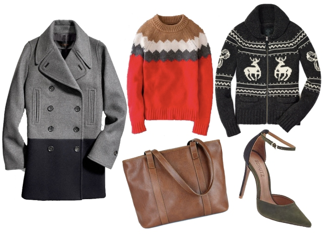 coach wool coat, boden sweater, reindeed sweater, frank clegg tote, schutz heels, holiday wish list