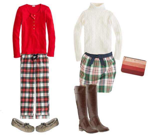 plaid pajama pants, plaid skirt, vineyard vines plaid skirt, cable knit sweater, simple winter outfits, christmas outfits
