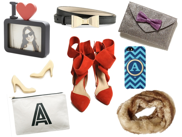 holiday gift guide, glitter bow clutch, red bow heels, monogram clutch, monogram phone case, faux fur scarf, kate spade show earrings