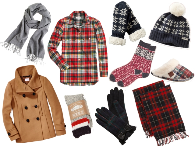plaid flannel shirt, plaid scarf, j.crew cashmere scarf, plaid gloves, snowflake socks, boot socks, christmas gifts, class christmas clothes