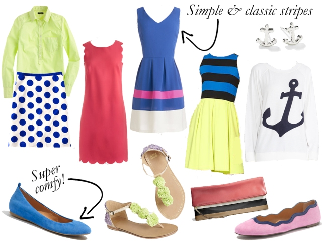 new spring clothes, jcrew spring, stripe dress, simple stripe dress, bright flats, anchor sweatshirt, anchor earrings, polka dot skirt, spring fashion, simple fashion