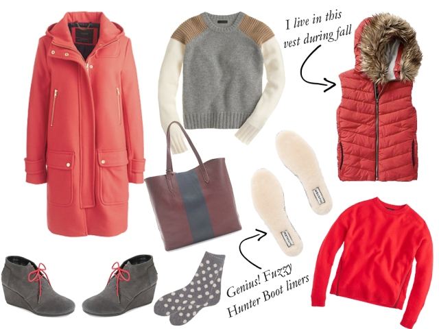 cozy fall clothes, cozy fall sweaters, soft sweaters, fall sweaters, warm and fashionable coat, polka dot socks, classic puffer vest, gap puffer vest, hunter shearling insoles, toms desert booties, red fall sweater